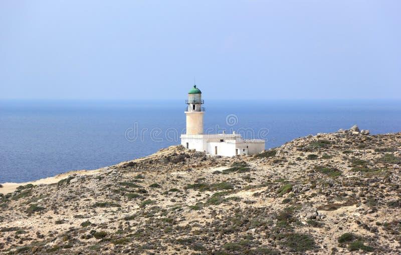 Prasonisi灯塔,罗得岛,希腊 免版税库存照片