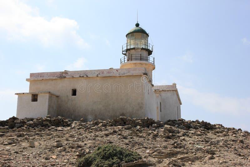 Prasonisi灯塔,罗得岛,希腊 图库摄影