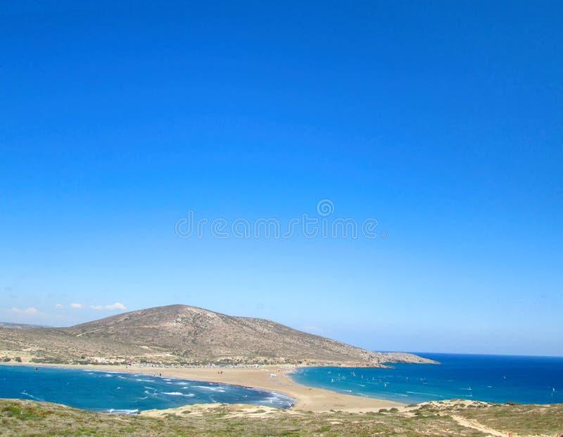 Prasonisi strand, Rhodes, Grekland arkivbild