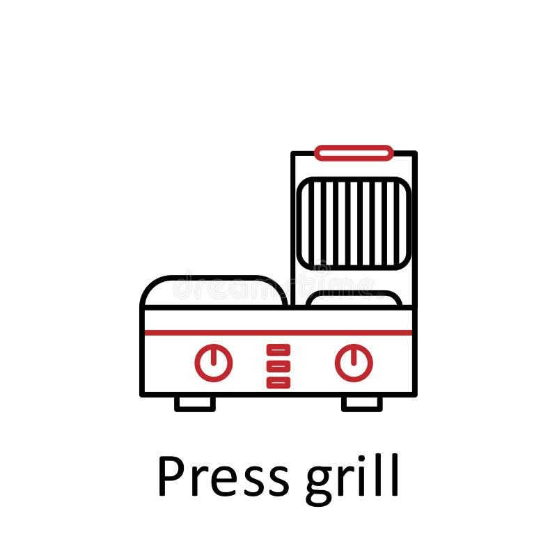 prasowa grill ikona Element restauracyjny fachowy wyposażenie Cienka kreskowa ikona dla strona internetowa projekta i rozwoju, ap royalty ilustracja