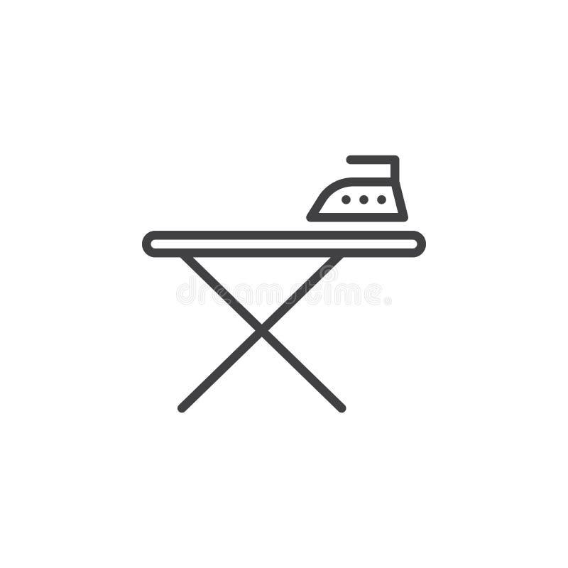 Prasowanie deska i żelazo kreskowa ikona, konturu wektoru znak, liniowy piktogram odizolowywający na bielu ilustracja wektor