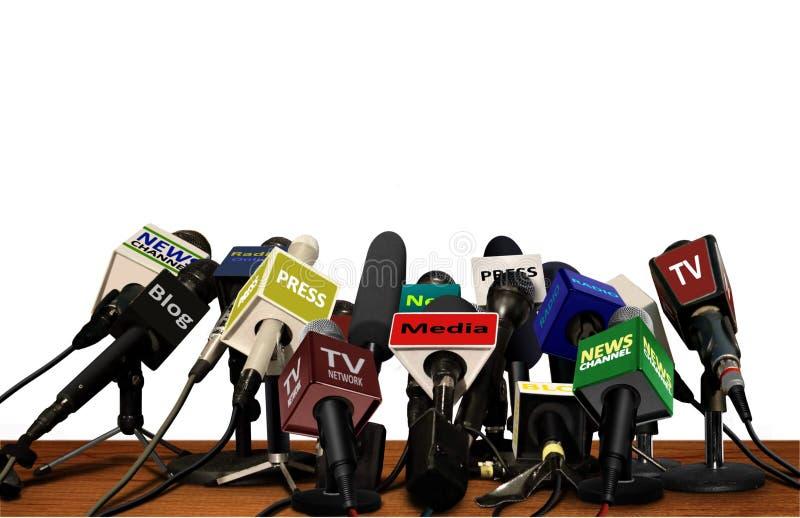 Prasowi Medialni Konferencyjni mikrofony obraz stock