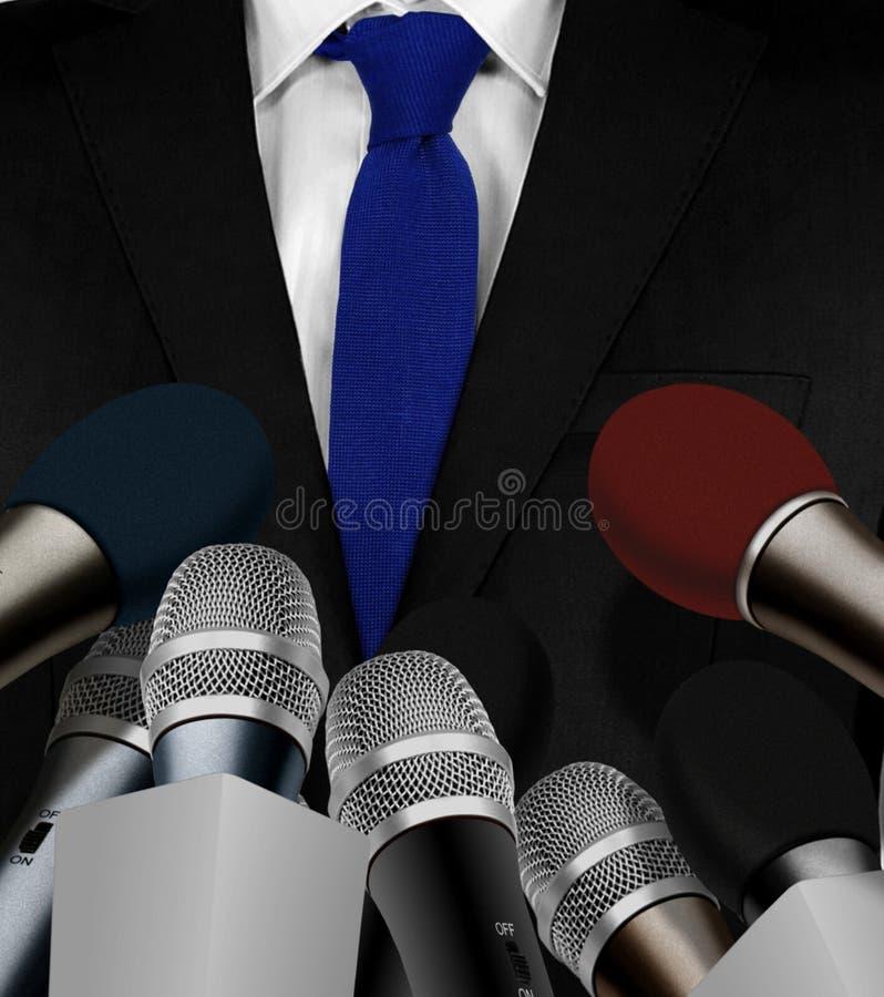 Prasowy wywiad z mikrofonami ilustracja wektor