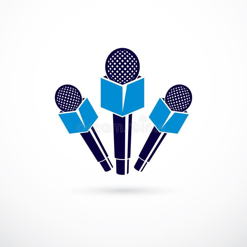 Prasowych mikrofonów wektorowa ilustracja, odizolowywająca na bielu Journa royalty ilustracja
