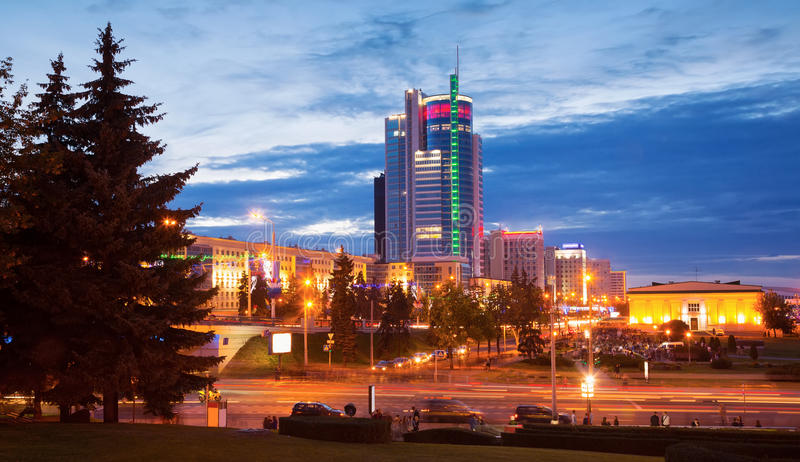Praspiekt Pieramozcau, Minsk. MINSK, BELARUS - SEPTEMBER 03, 2016: Praspiekt Pieramozcau in autumn evening , Minsk, Belarus stock photos