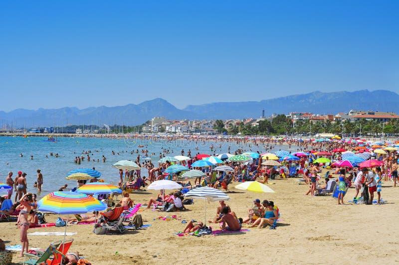 Prat de en Fores海滩,在Cambrils,西班牙 免版税库存照片