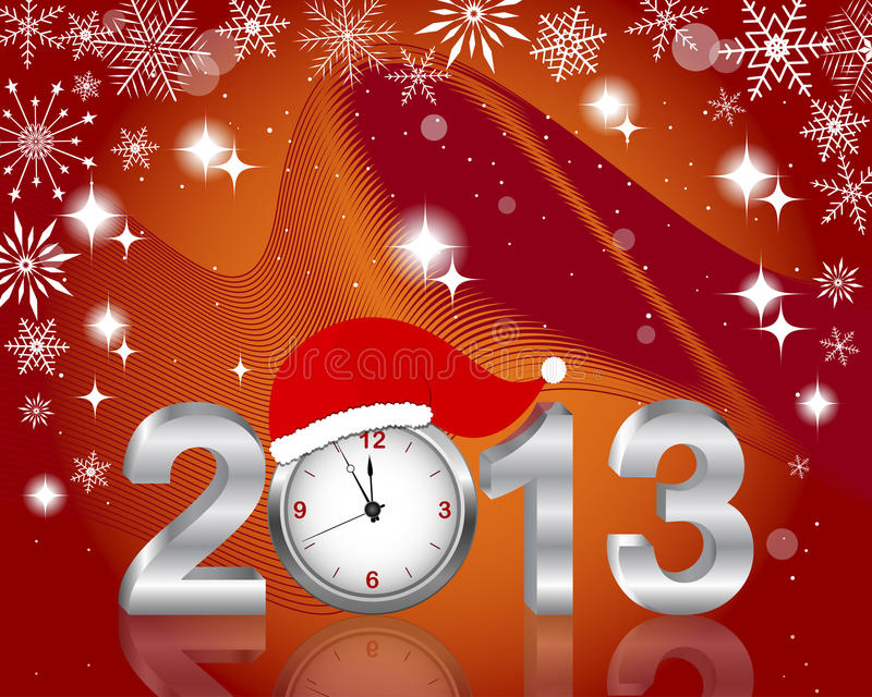 Prata 2013 com o pulso de disparo no chapéu de Santa. ilustração royalty free