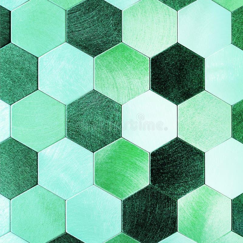 Prata abstrata com fundo metálico verde Hexágonos geométricos fotografia de stock