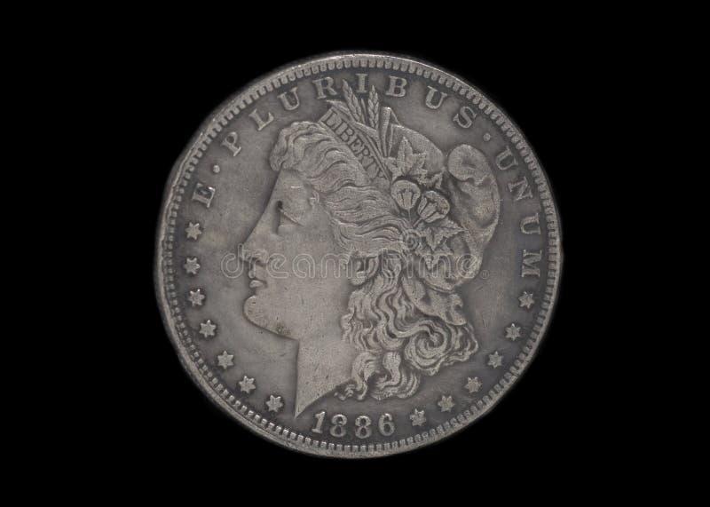 Prata americana uma moeda do dólar fotografia de stock royalty free