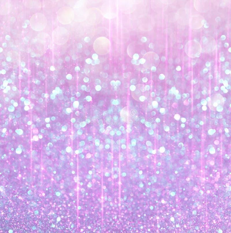 Prata branca e luzes abstratas cor-de-rosa do bokeh Fundo Defocused