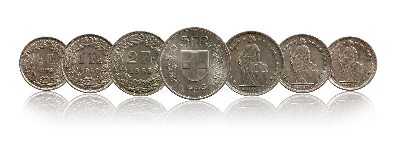 Prata de moedas suíça de Suíça isolada no fundo branco fotos de stock