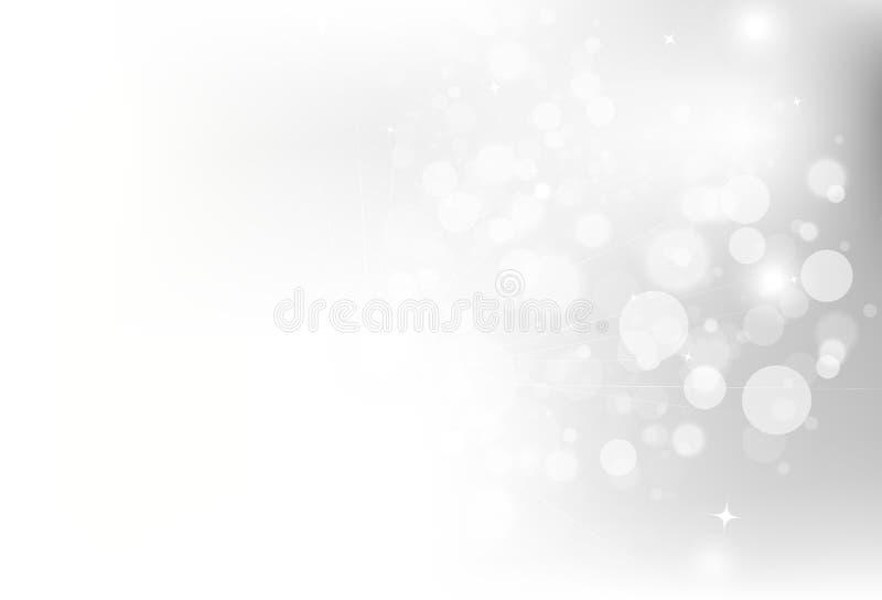 Prata, decoração de incandescência da faísca do brilho de Bokeh das estrelas para Chris ilustração do vetor