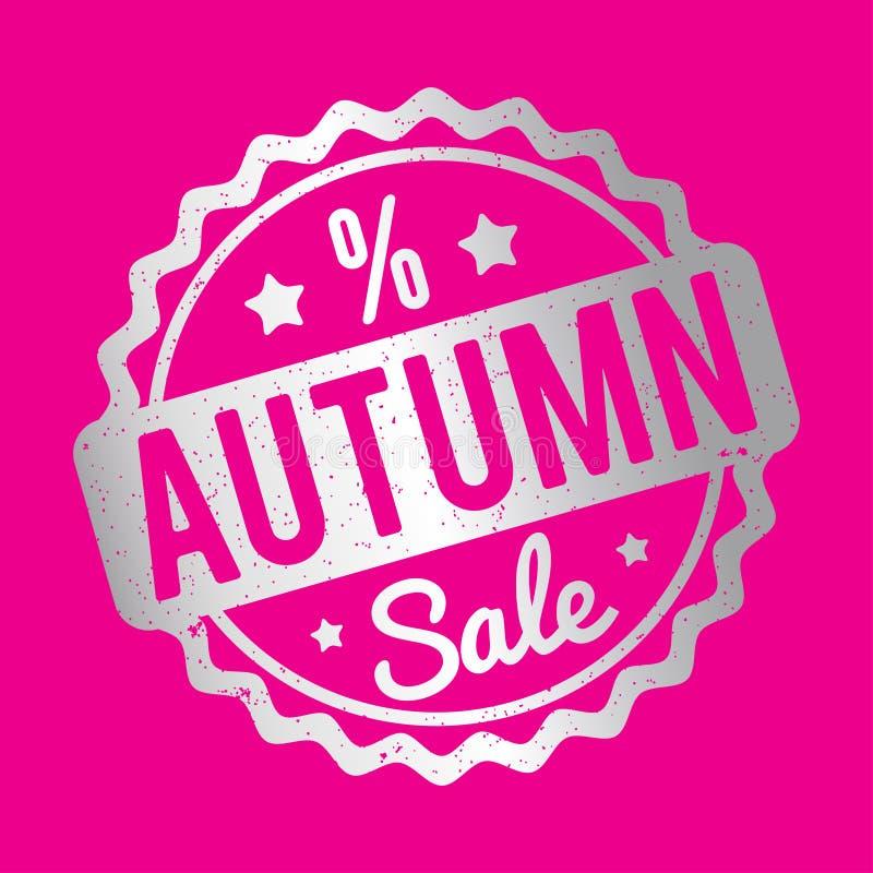 Prata do carimbo de borracha de Autumn Sale em um fundo cor-de-rosa ilustração stock
