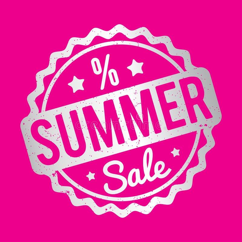 Prata do carimbo de borracha da venda do verão em um fundo cor-de-rosa ilustração stock