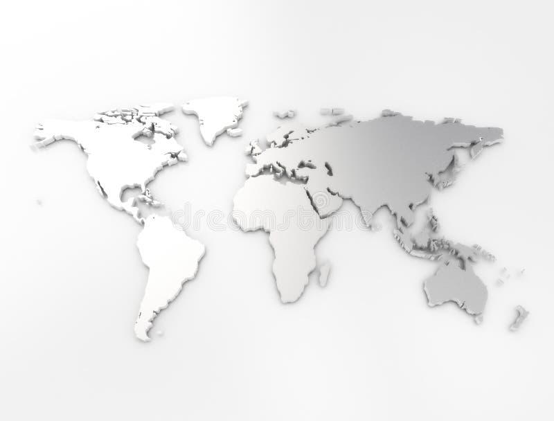 Prata do mapa do mundo ilustração do vetor