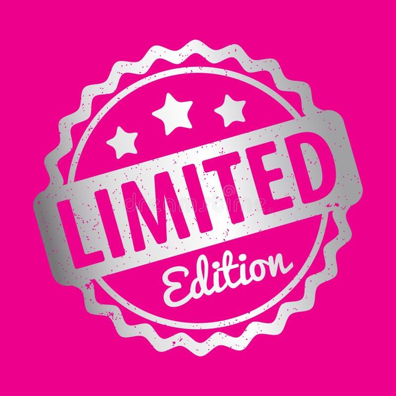 Prata do vetor da concessão do carimbo de borracha da edição limitada em um fundo cor-de-rosa ilustração stock