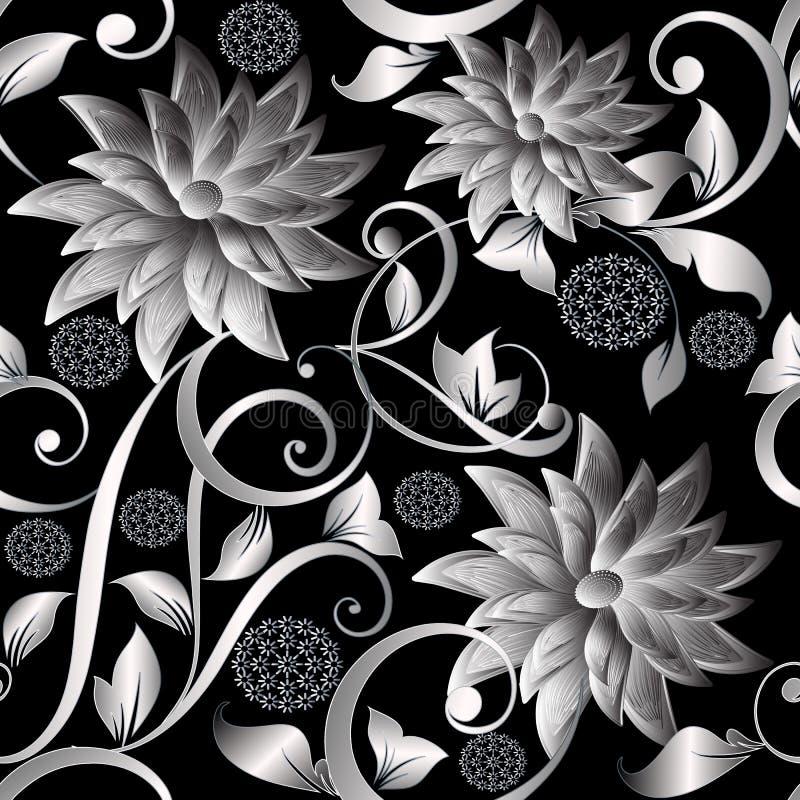 a prata do vintage 3d floresce o teste padrão sem emenda Backgr floral do vetor ilustração do vetor