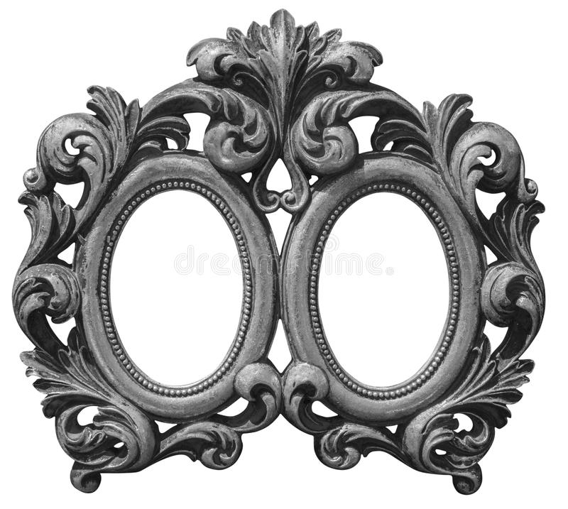 Prata dobro velha quadro de madeira chapeado foto de stock royalty free