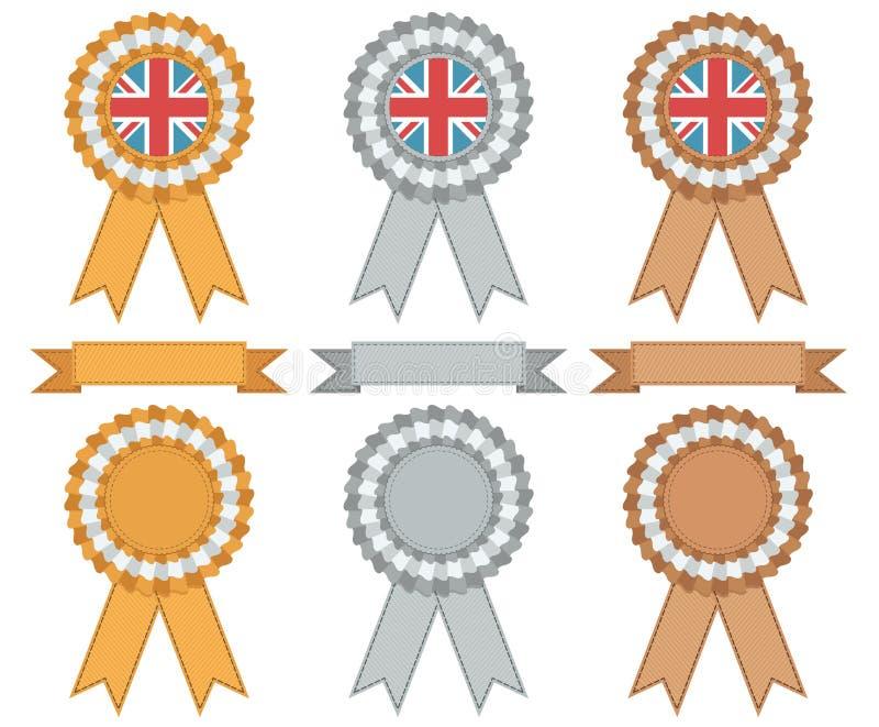 Prata e bronze britânicos do ouro ilustração stock