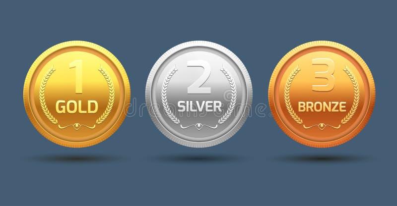 Prata e bronze do ouro da medalha da concessão Divisão do metal do campeão para o vencedor Realização do vetor ilustração stock