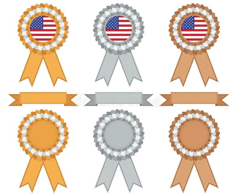 Prata e bronze do ouro dos EUA ilustração royalty free