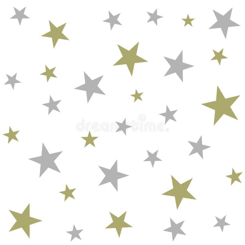 A prata e o ouro stars no vetor sem emenda do fundo branco ilustração do vetor