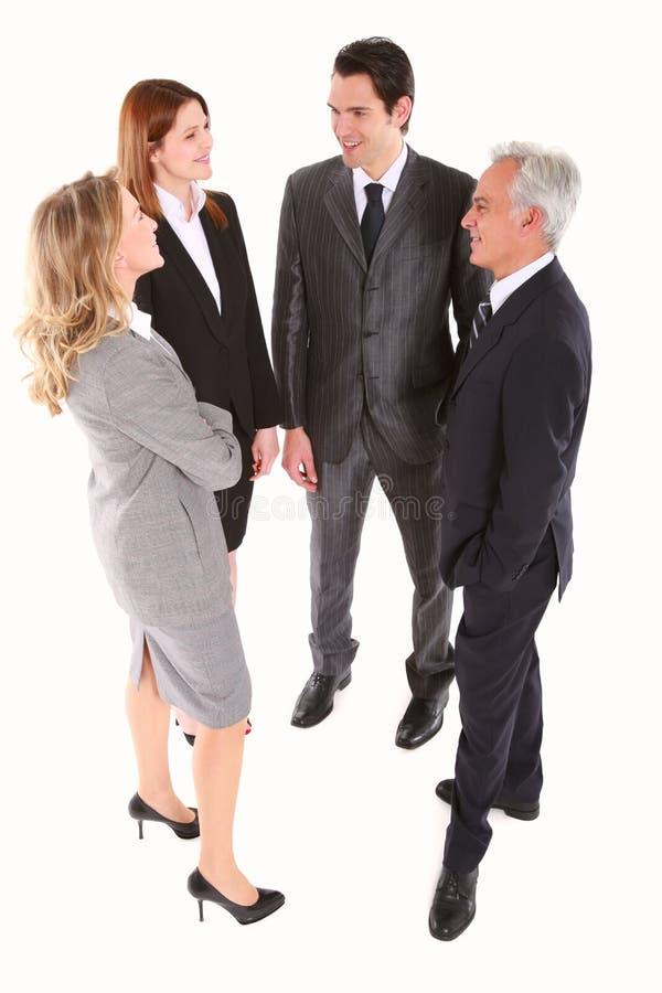 prata för affärsmanaffärskvinnor royaltyfri foto