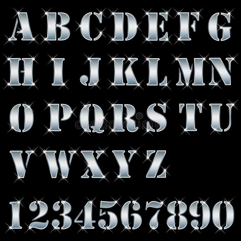 Prata, letras, alfabeto, números ilustração royalty free