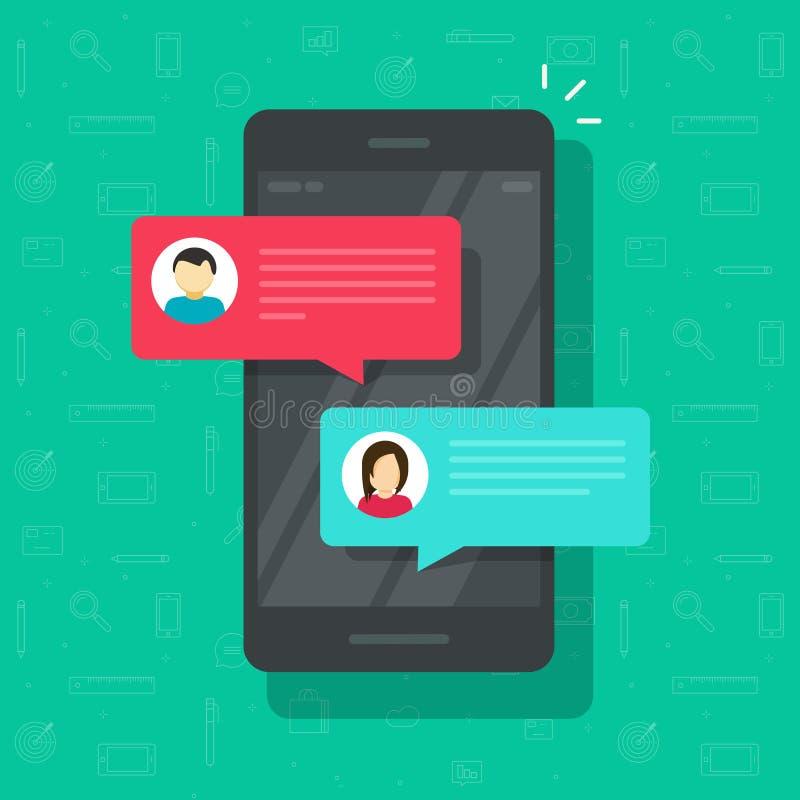Prata meddelandemeddelandet på smartphonevektorillustrationen, plana tecknad filmsmsbubblor på mobiltelefonskärmen, man royaltyfri illustrationer