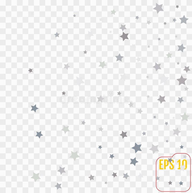 A prata stars os confetes que voam para baixo sobre o fundo transparente ilustração stock