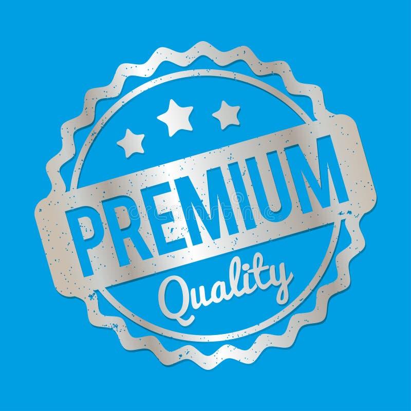 Prata superior do carimbo de borracha da qualidade em um fundo azul ilustração royalty free