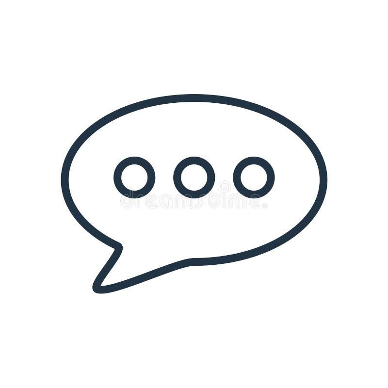 Prata symbolsvektorn som isoleras på vit bakgrund, pratstundtecken stock illustrationer