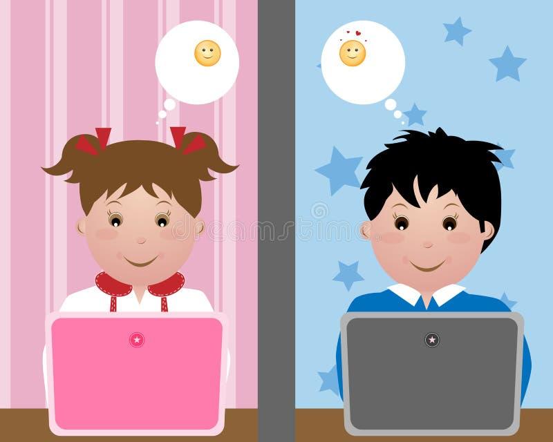 prata ungar stock illustrationer