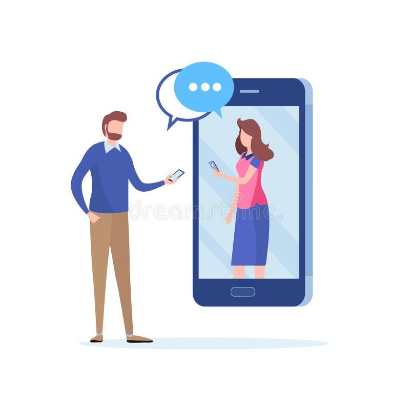 Prata via socialt nätverk par som har datumet via smartphonen Online-kommunikation Plan tecknad filmillustrationvektor royaltyfri illustrationer