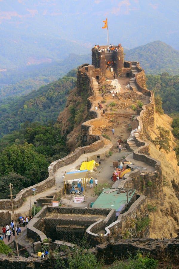 Pratapgad堡垒,萨塔拉,马哈拉施特拉鸟瞰图  免版税图库摄影