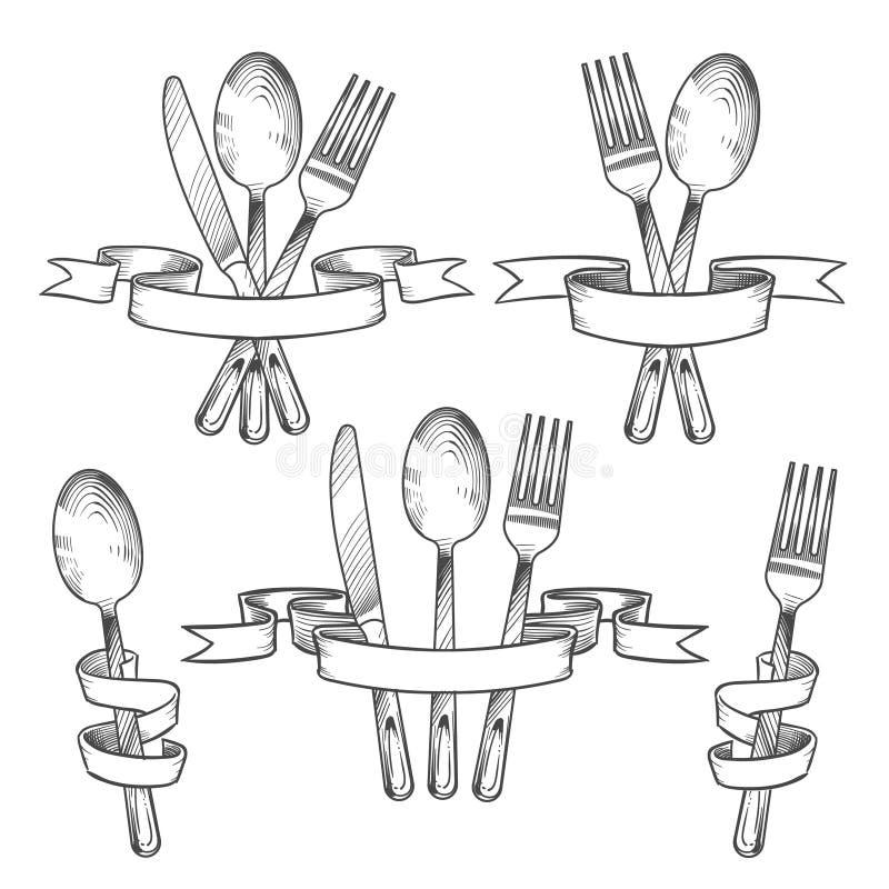 Pratas, cutelaria, utensílios da tabela de jantar Faca, colher e forquilha no grupo retro do desenho da mão das fitas da bandeira ilustração royalty free