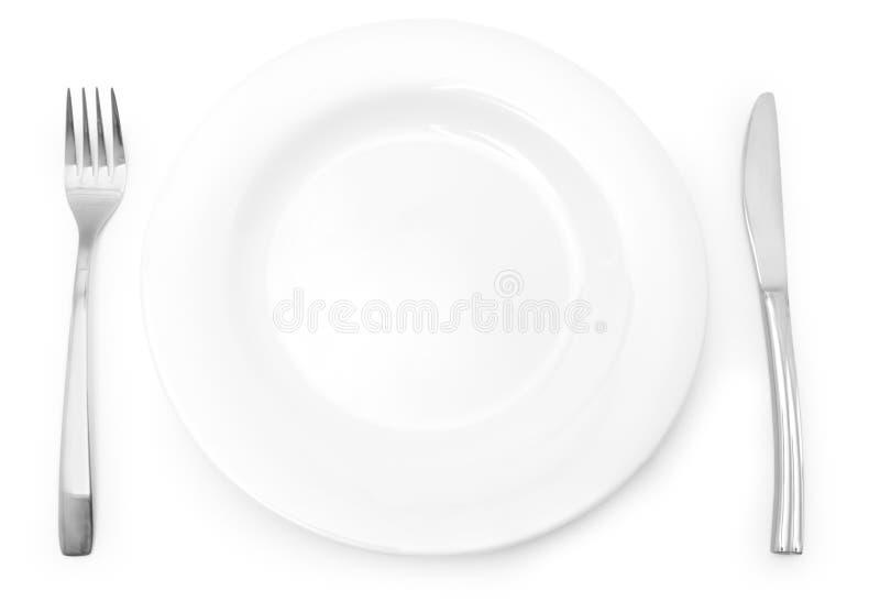Pratas e placa imagem de stock