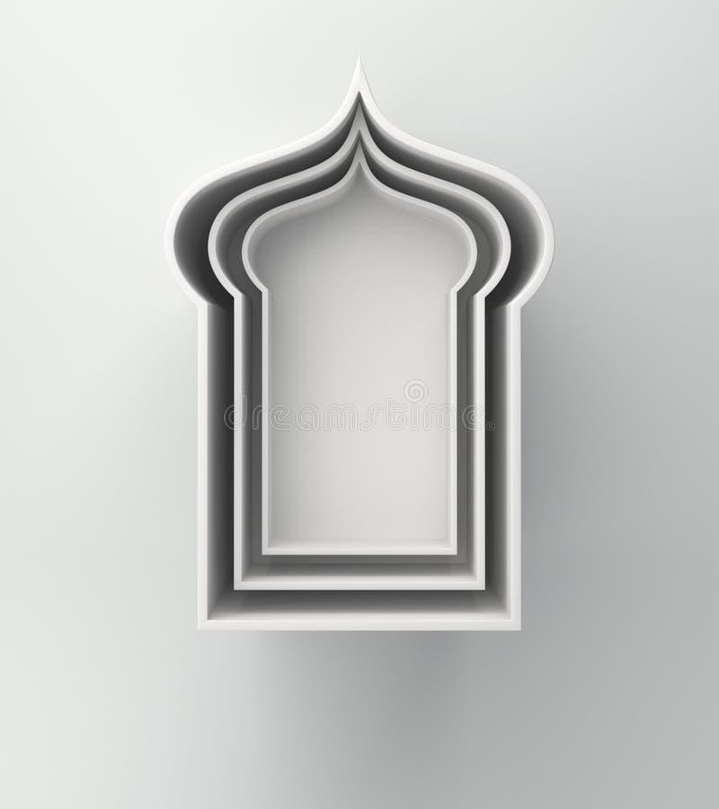 Prateleira árabe da janela no fundo branco Conceito criativo do projeto do kareem de ramadan do dia da celebra??o ou do adha isl? ilustração royalty free