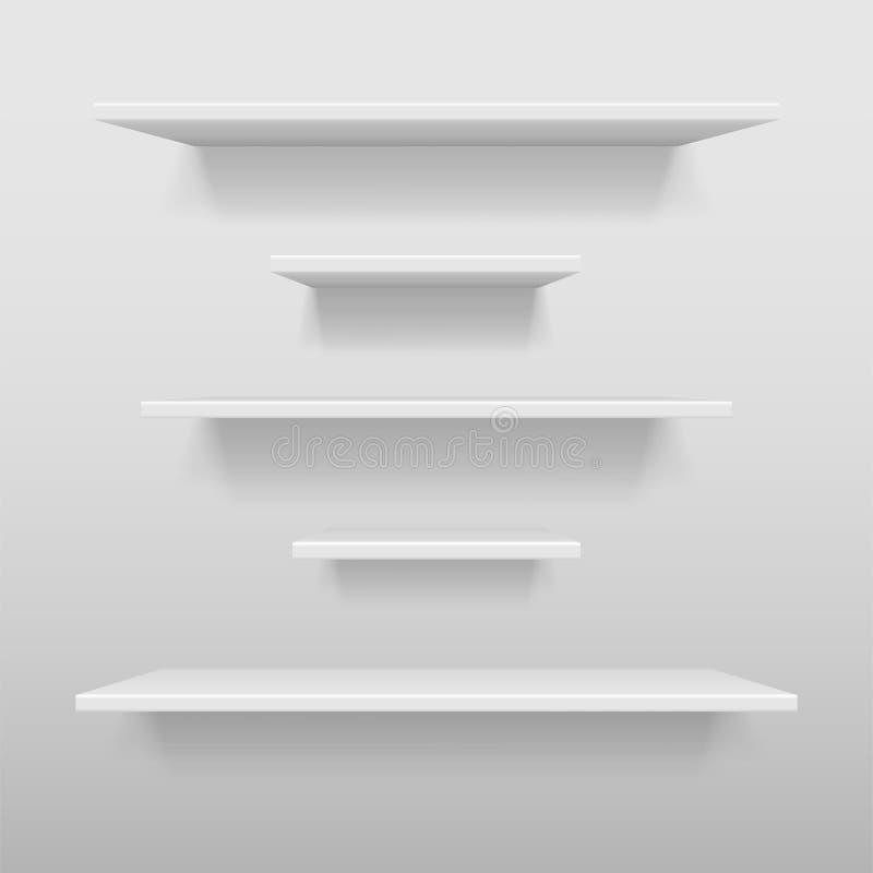 A prateleira branca vazia da loja ou da exposição, branco varejo arquiva o modelo Estante realística do vetor com sombra na pared ilustração stock