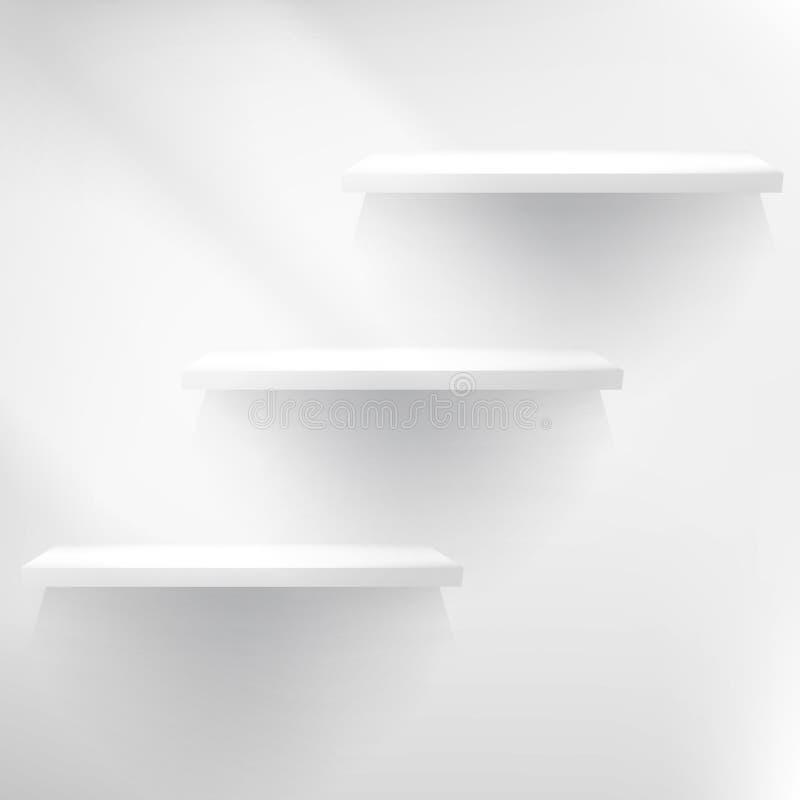 Prateleira branca vazia que pendura em uma parede. ilustração stock