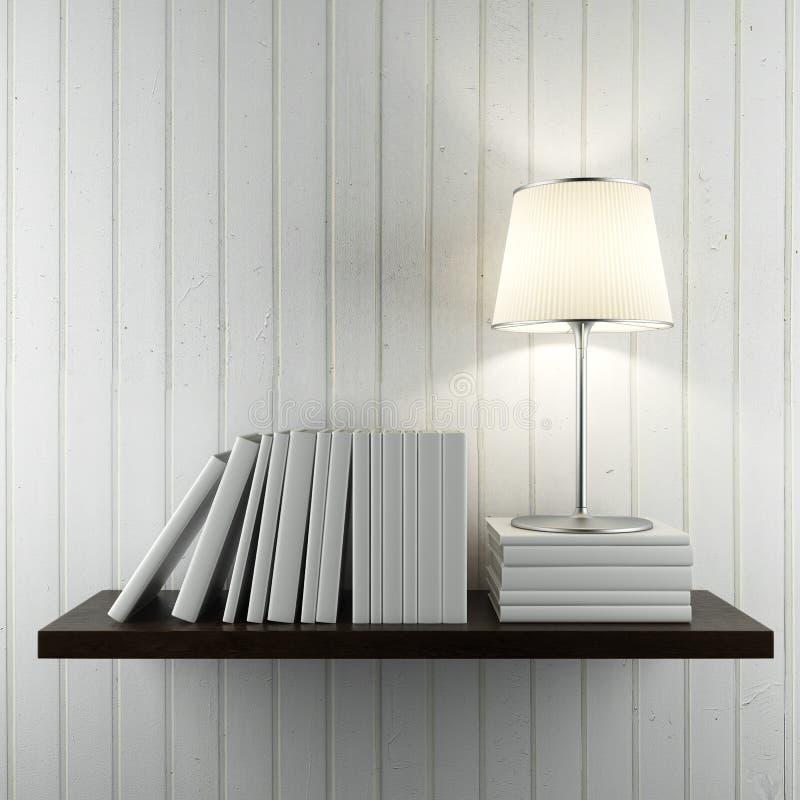 Prateleira com livros e lâmpada ilustração royalty free