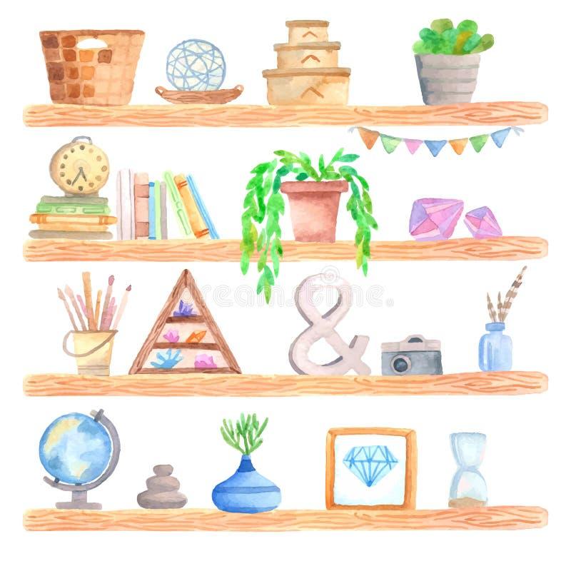 Prateleira da aquarela com objetos ilustração do vetor