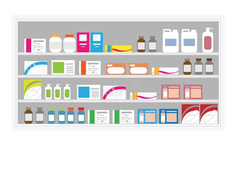 Prateleira da droga da farmácia ilustração royalty free