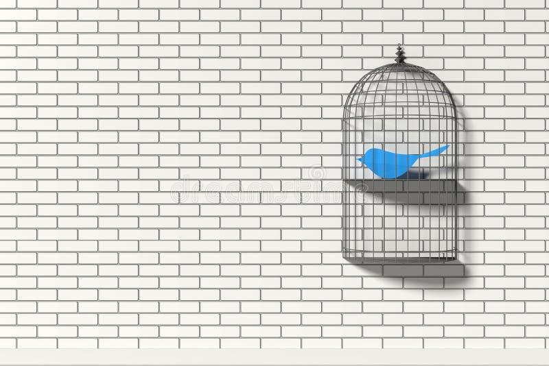 Prateleira da gaiola de pássaro com o pássaro azul de papel fotos de stock royalty free