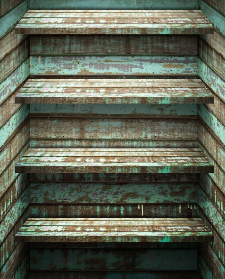 Prateleira da madeira quatro fotografia de stock royalty free