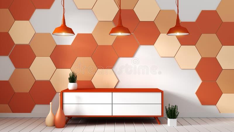 Prateleira da tevê na sala vazia moderna com as plantas no fundo alaranjado da telha do hexágono, rendição 3d ilustração stock