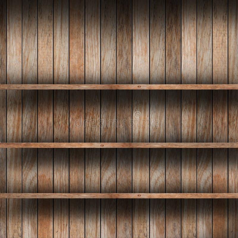 Prateleira de madeira vazia imagens de stock