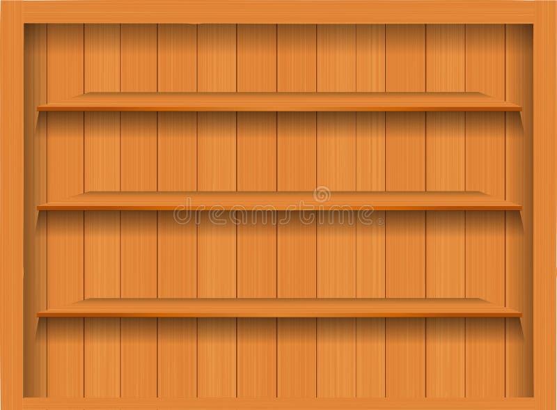 Prateleira de madeira vazia do vetor. ilustração do vetor