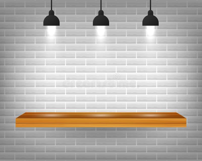 Prateleira de madeira vazia do vetor isolada no fundo cinzento da parede de tijolo Ilustra??o conservada em estoque do vetor ilustração royalty free