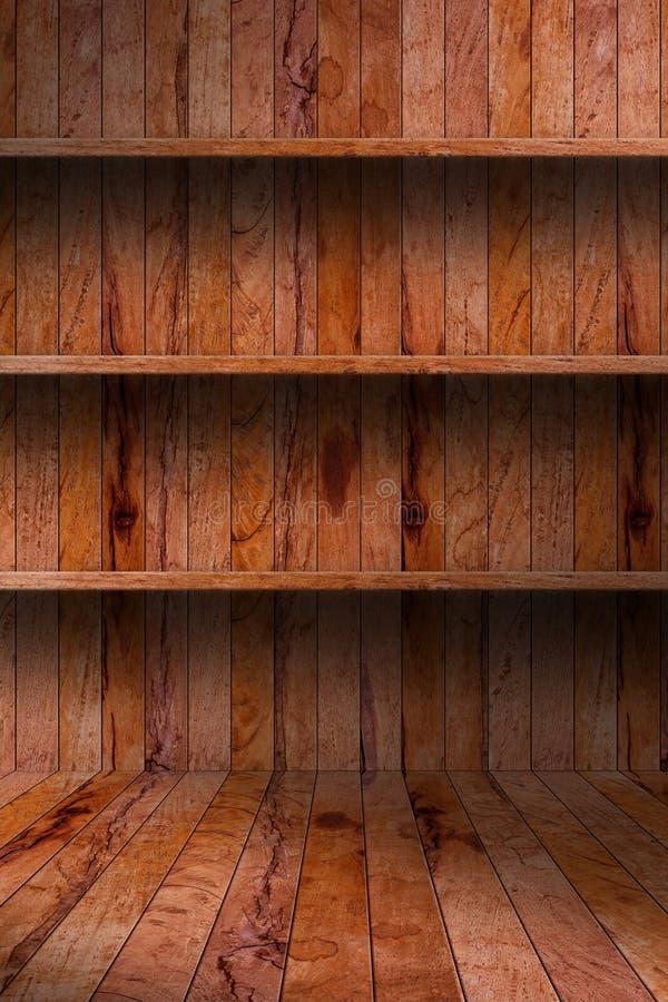 Prateleira de madeira vazia. interior industrial do grunge fotografia de stock